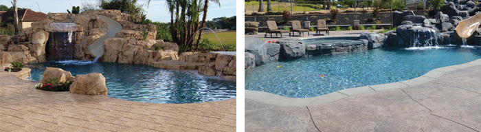 Swimming Pool Decking and Waterfalls & Boulders
